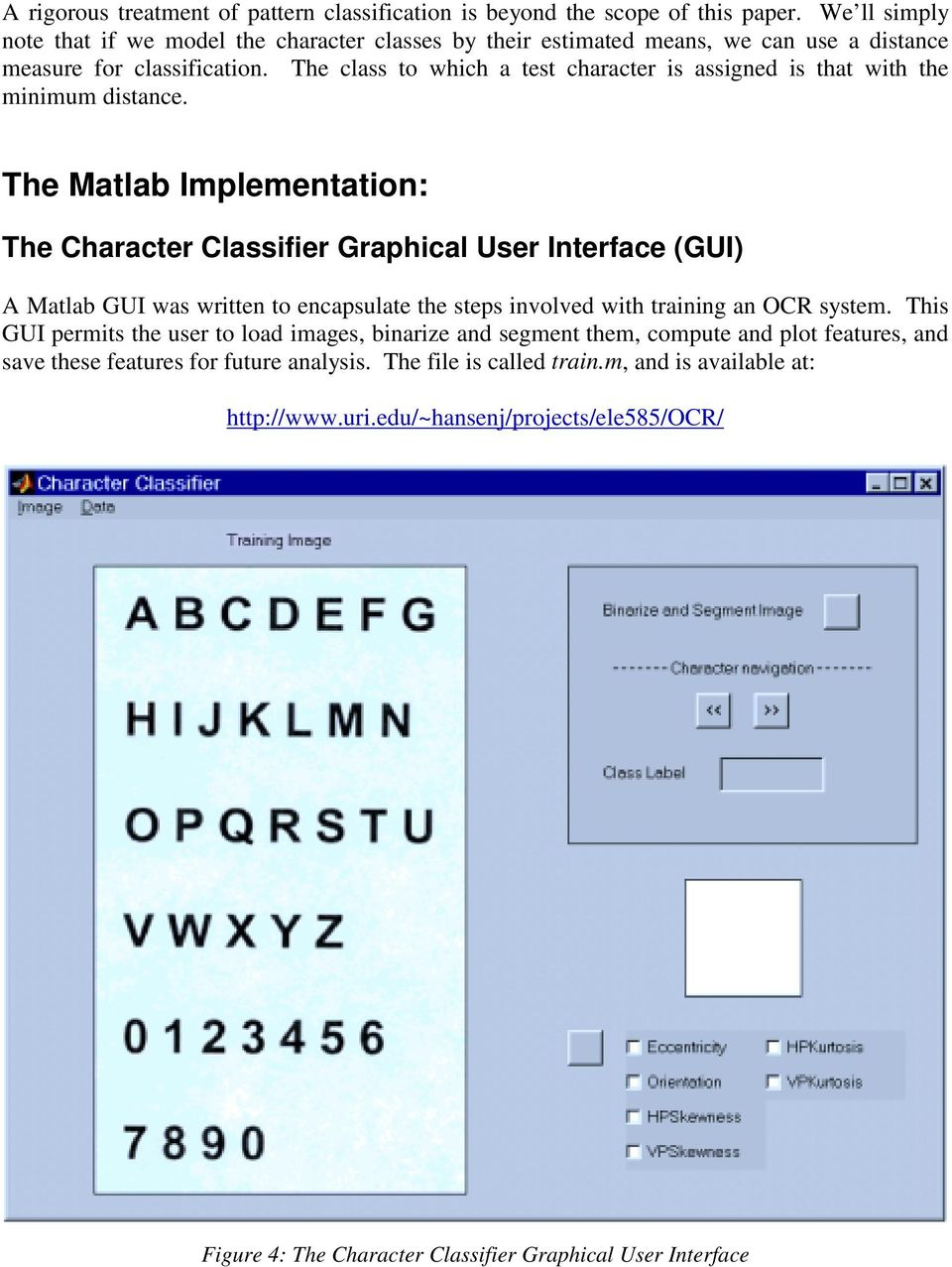 A Matlab Project in Optical Character Recognition (OCR) - PDF