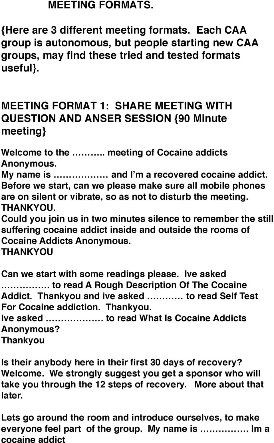 meeting format 1 share meeting with question and anser session 90