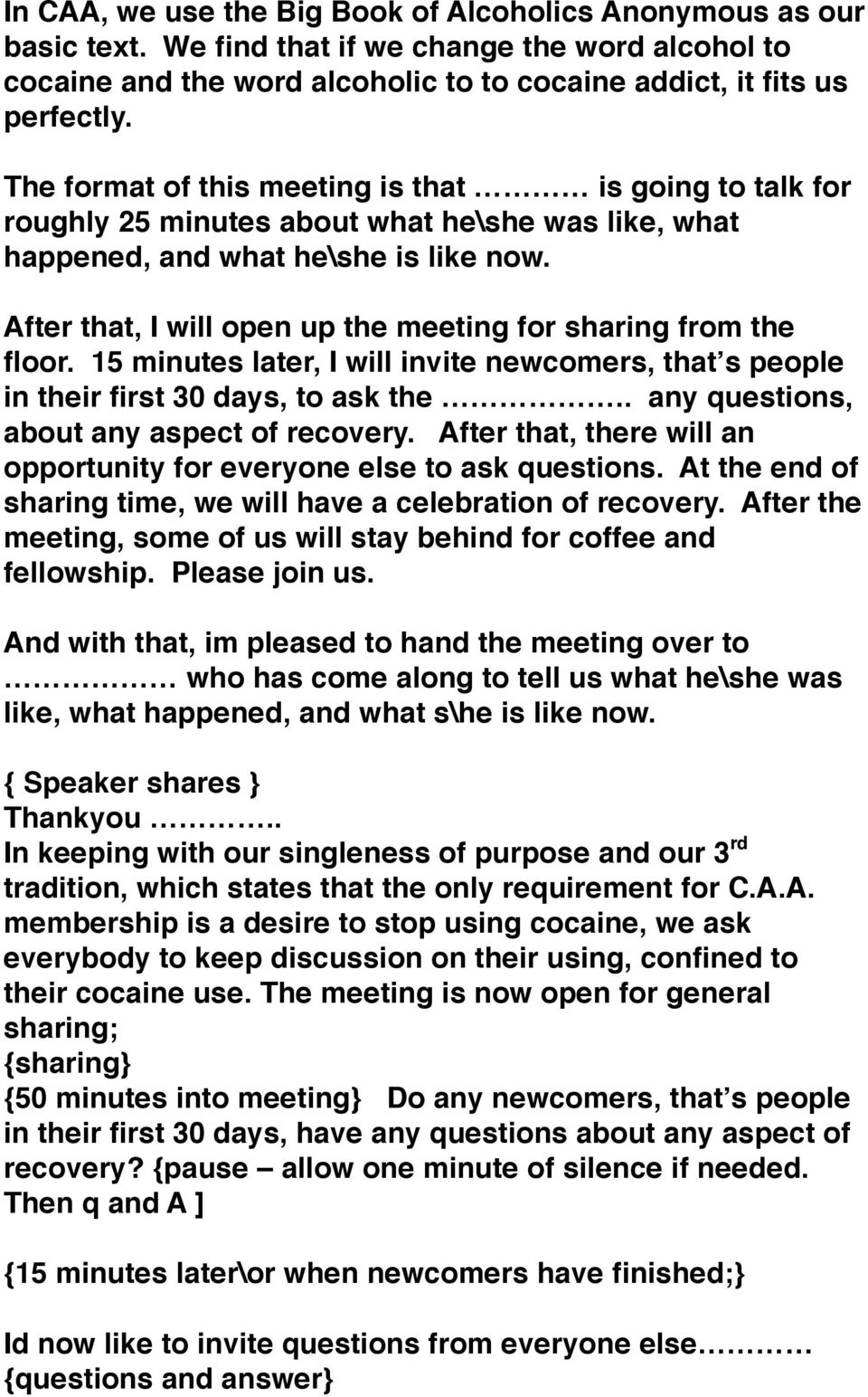 MEETING FORMAT 1: SHARE MEETING WITH QUESTION AND ANSER