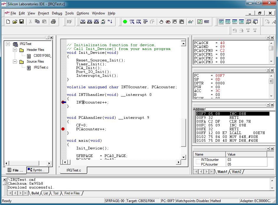 Laboratory practical with the C8051Fxxx microcontroller