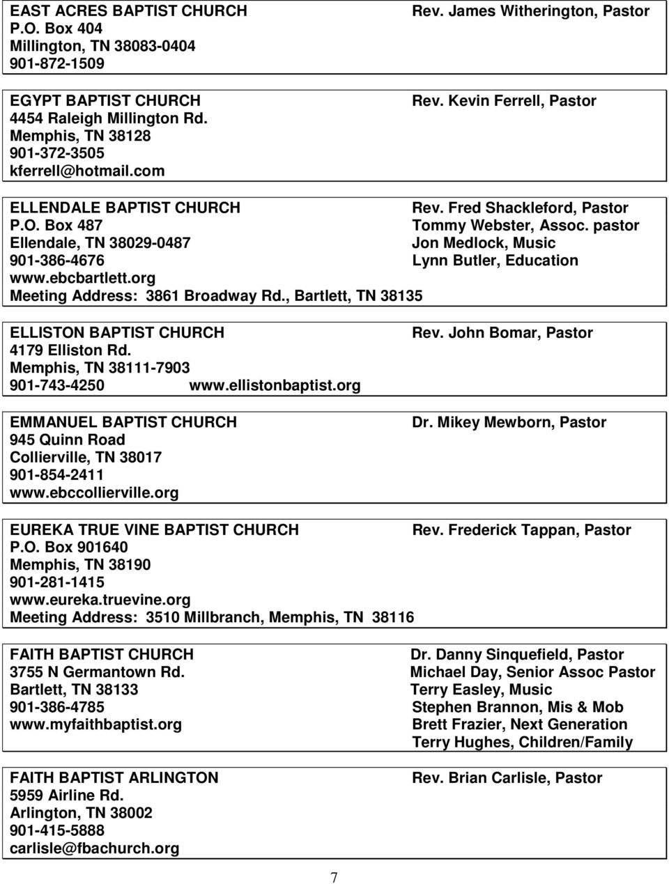 MID-SOUTH BAPTIST ASSOCIATION 2015 DIRECTORY BY CHURCHES - PDF