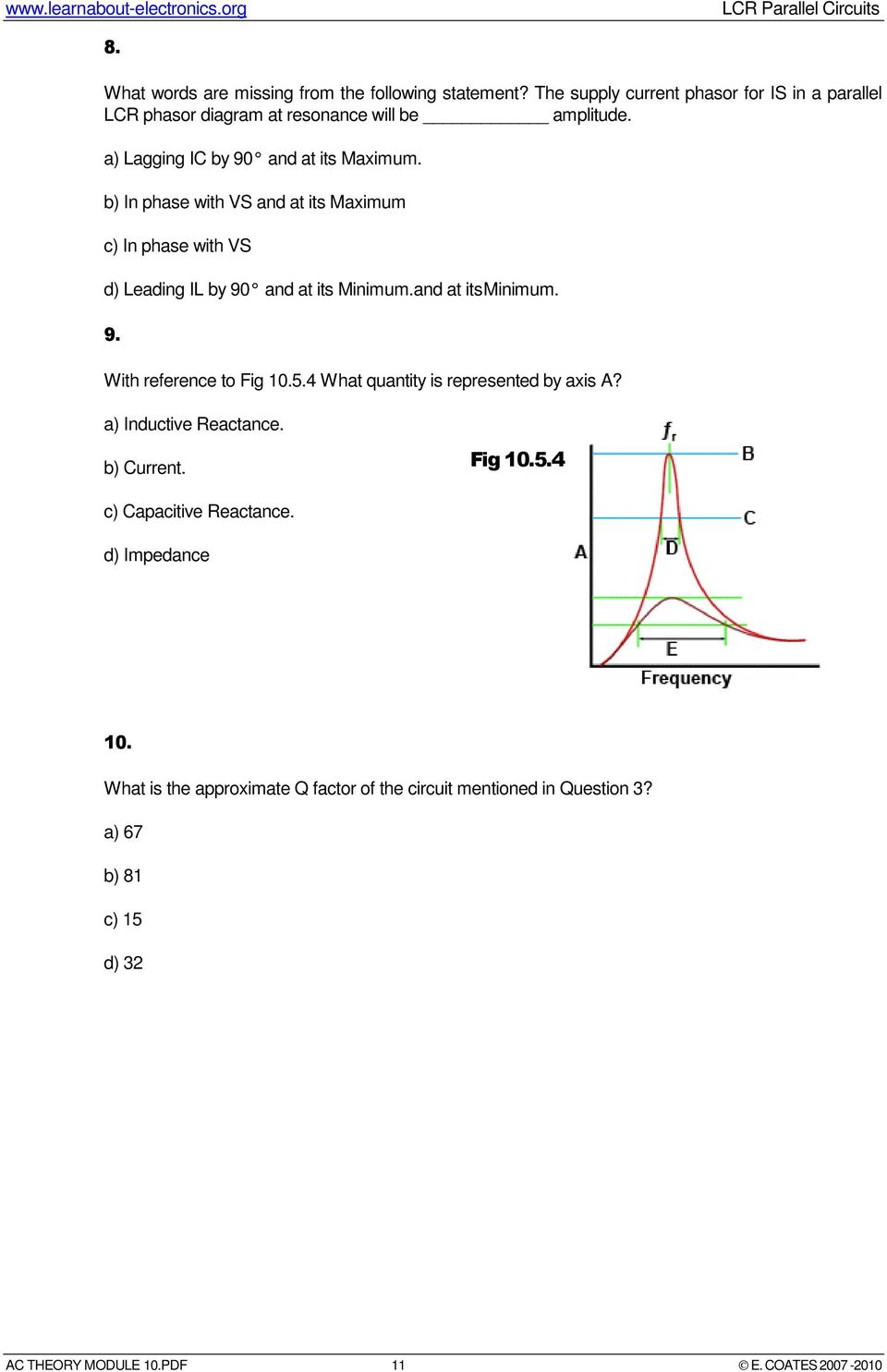 Lcr Parallel Circuits Pdf The Capacitive Reactance And Circuit Impedance Is Calculated As With Reference To Fig 1054 What Quantity