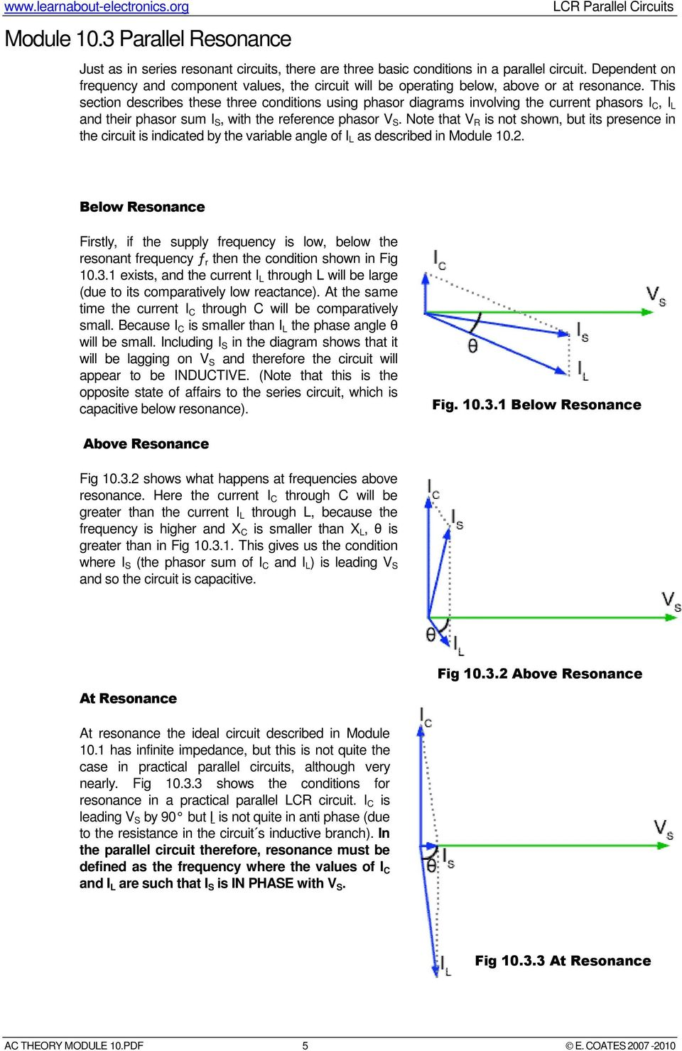 Lcr Parallel Circuits Pdf Basic Principles Of The Lc Resonance Circuit This Section Describes These Three Conditions Using Phasor Diagrams Involving Current Phasors I C L