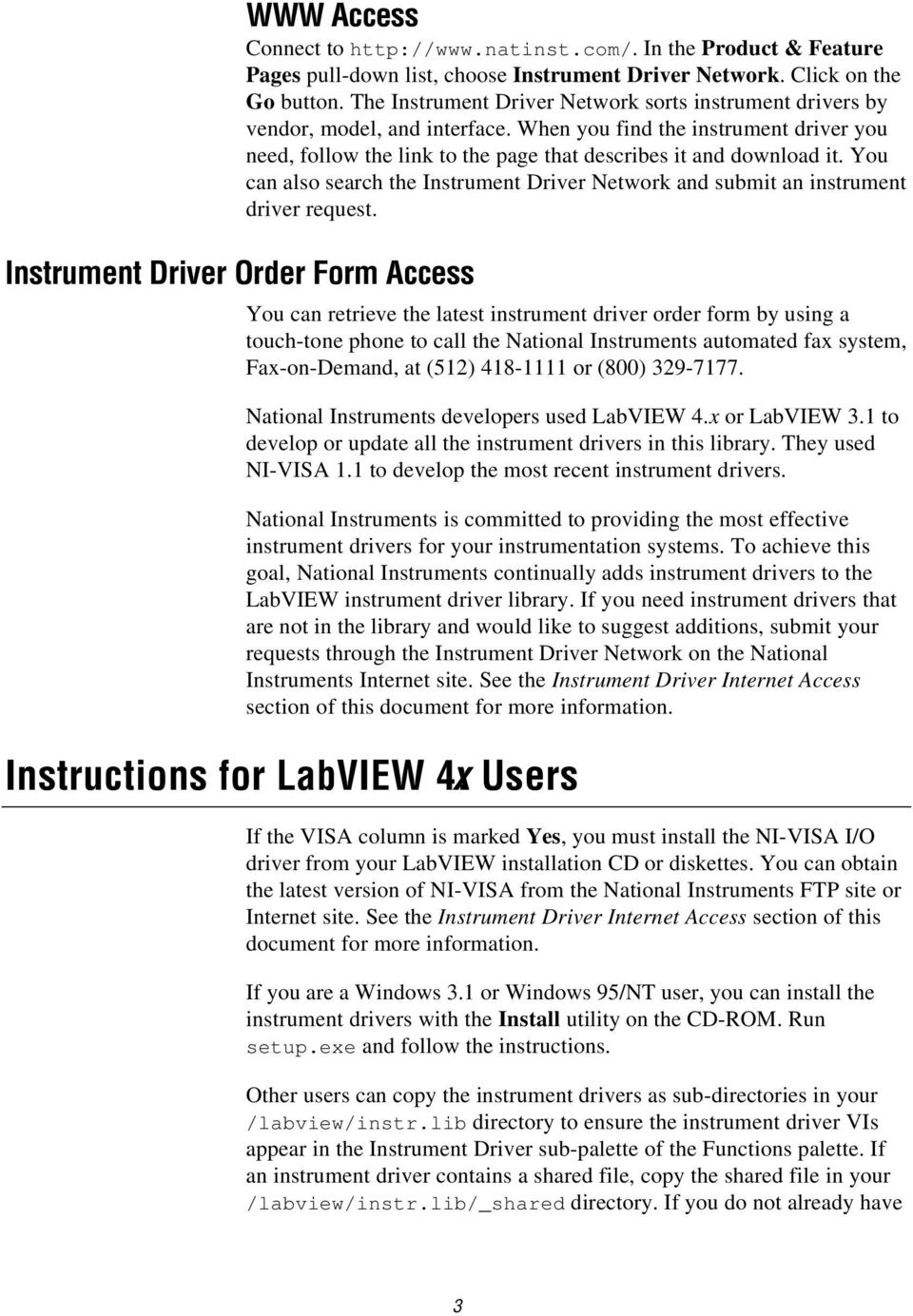 LABVIEW INSTRUMENT DRIVER LIBRARY LIST - PDF