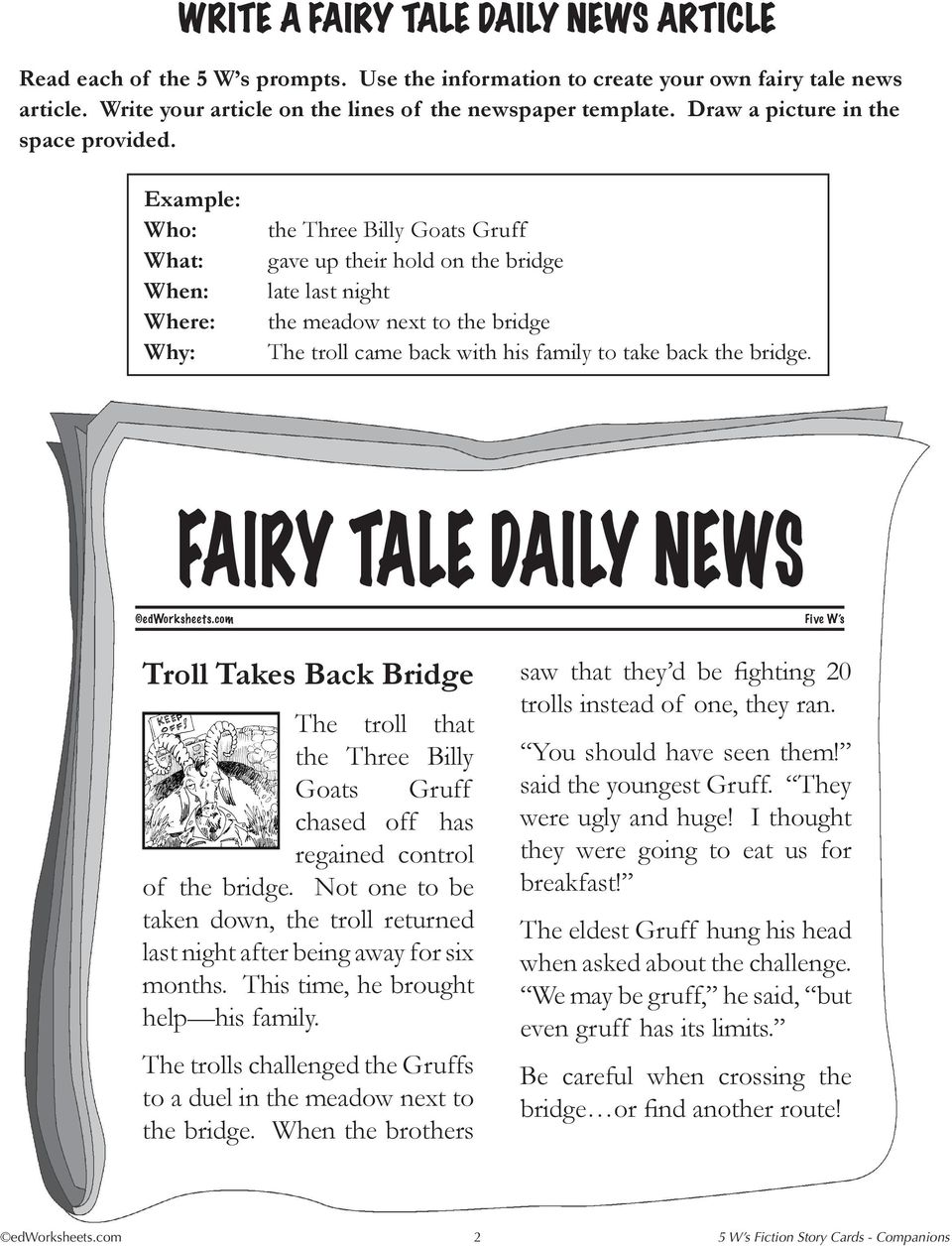 5 w s daily news story title reading level word count pdf the troll came back with his family to take back the bridge troll takes back maxwellsz
