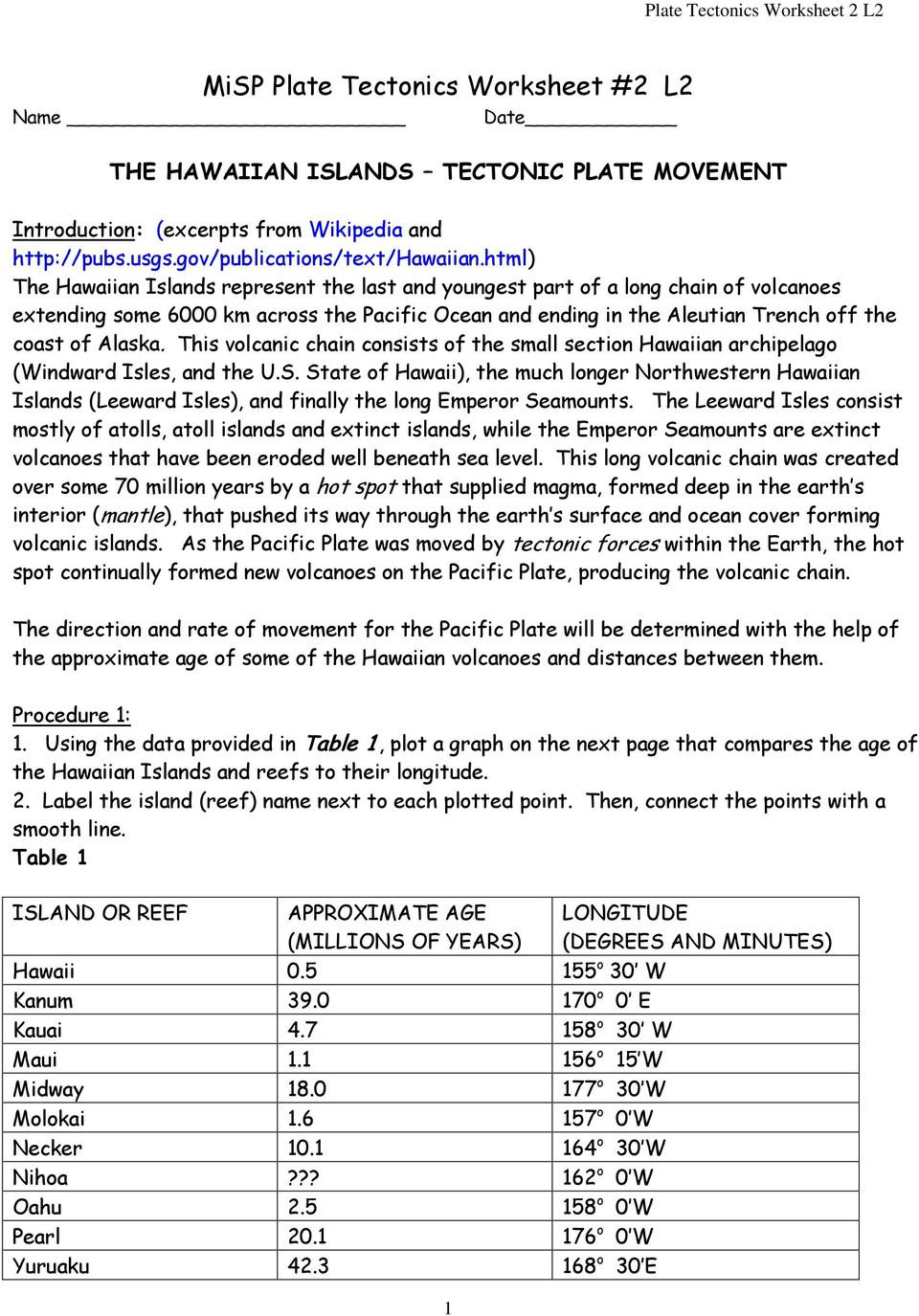 Worksheets Plate Tectonics Worksheet misp plate tectonics worksheet 2 l2 pdf this volcanic chain consists of the small section hawaiian archipelago windward isles and worksheet