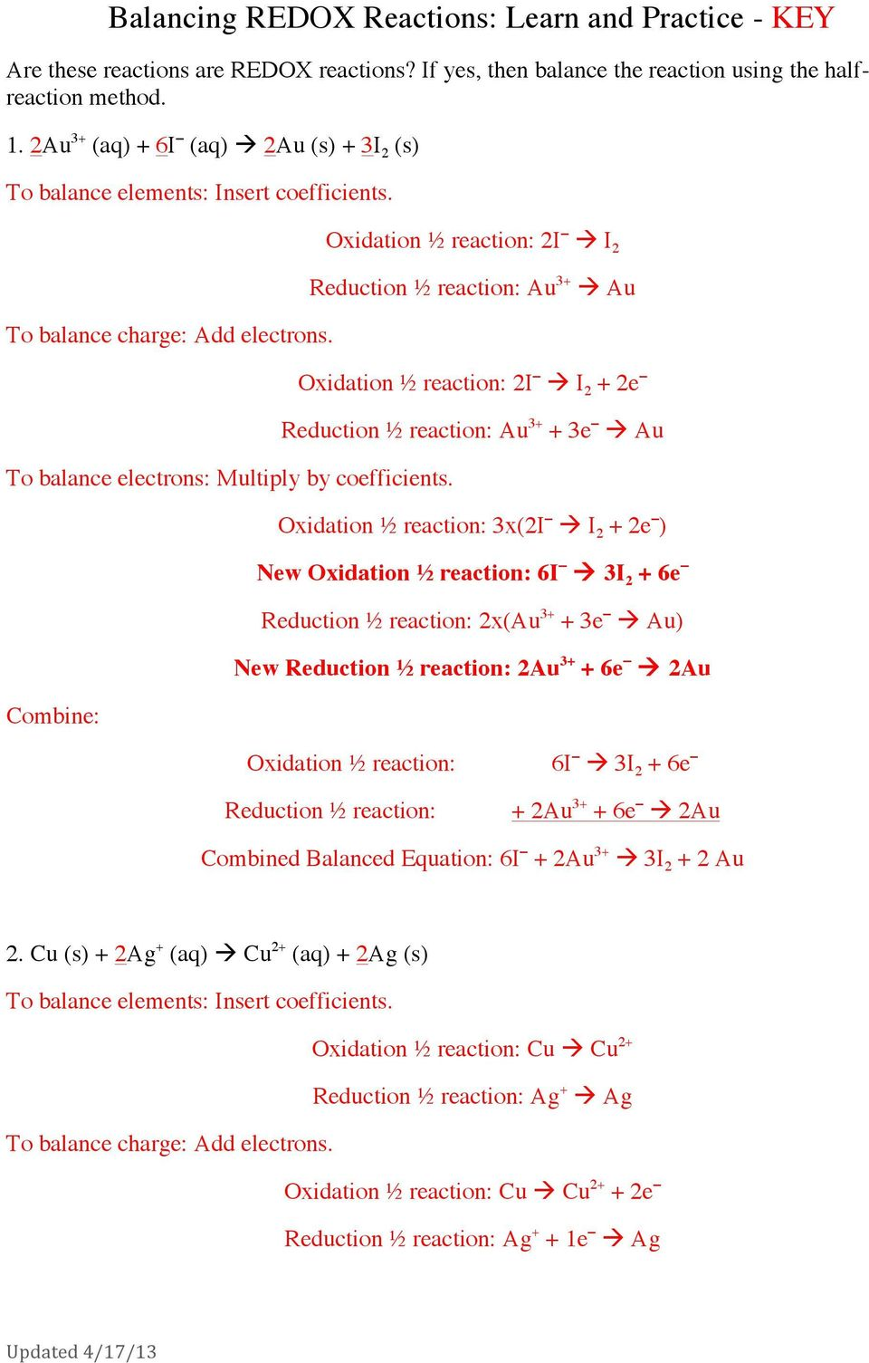 Balancing REDOX Reactions: Learn and Practice - KEY - PDF ...