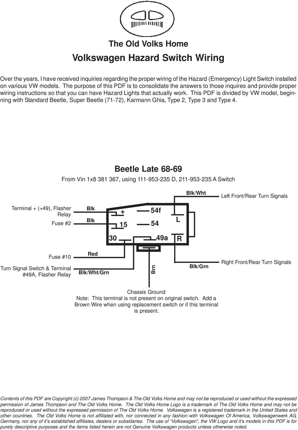 Volkswagen Hazard Switch Wiring Pdf Mini Cooper Diagram This Is Divided By Vw Model Beginning With Standard Beetle Super