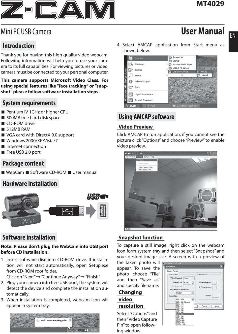Z-CAM  User Manual  Mini PC USB Camera MT4029  Introduction  System