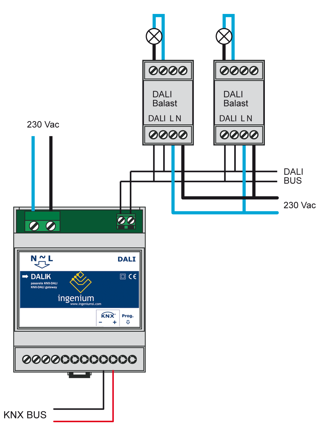 Dalik Programming Manual Gateway Knx Dali V143 Technical Support Wiring Diagram 4 Installation Feed Low Voltage Lines Bus And Inputs In Separate Ducting To