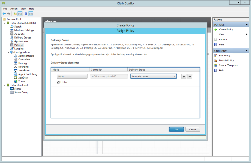 wizard, select Delivery Group and select Assign In the Assign Policy screen,