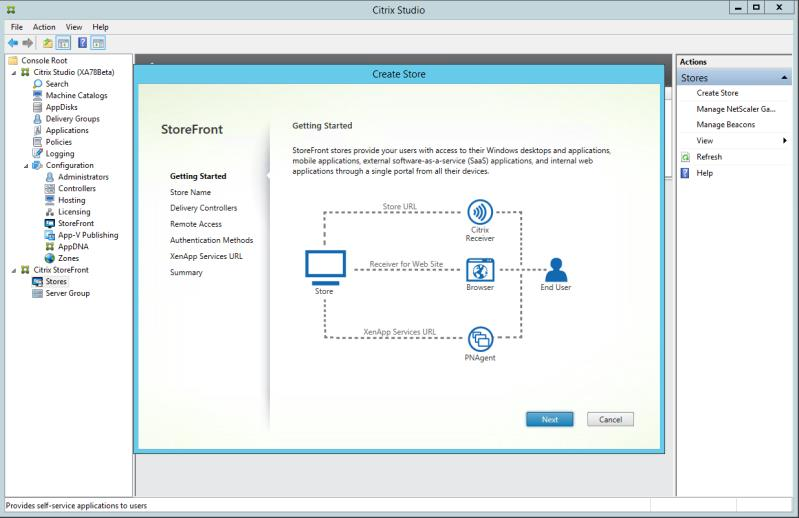 For implementations where StoreFront is installed on the delivery controller: Within Citrix Studio, in the navigation tree on the left, select Citrix StoreFront - Stores.