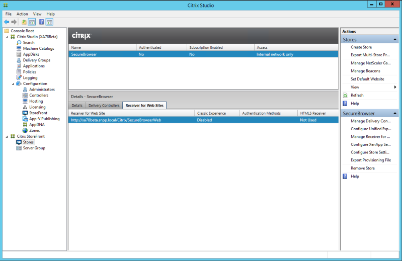 The new store should be visible in Citrix Studio. Select Receiver for Web Sites in the middle of the screen.