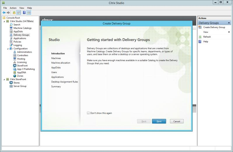 Machine Catalog A Citrix XenApp-based machine catalog must already be created within Citrix Studio. The machine catalog must contain at least one XenApp 7.