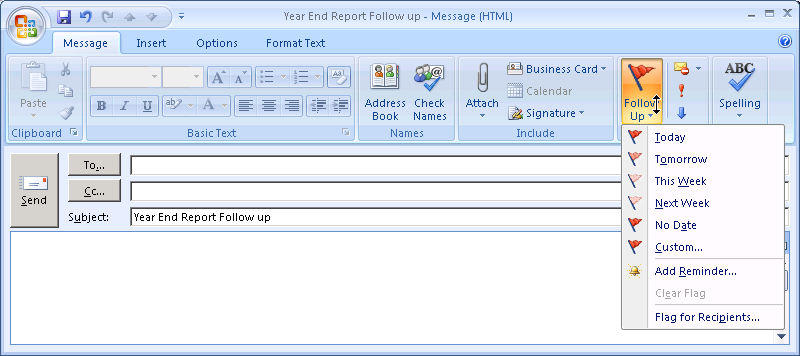 then click Set Quick Click. Flag E-Mail Messages as a Reminder To remind yourself to follow up on e-mail messages that you are sending, you can also add flags when you send e-mail messages.