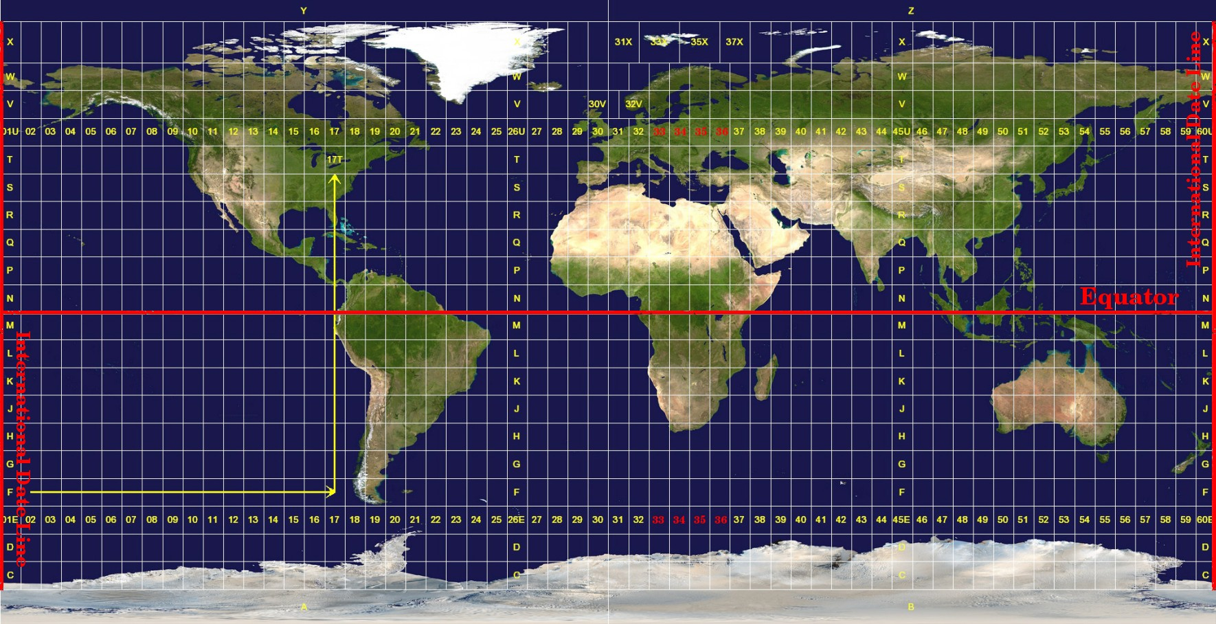 international date line (zone 1 at 180 degrees West longitude) and progressing East back to the international date line (zone 60 at 180 degrees East longitude) as shown in Illustration 9 below.