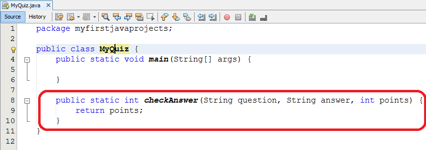 PROJECT: Quiz Game  Java Projects: Quiz Game STEP 1 CREATE A CLASS - PDF