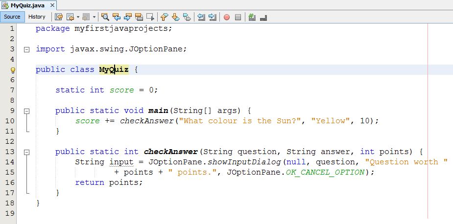 PROJECT: Quiz Game  Java Projects: Quiz Game STEP 1 CREATE A