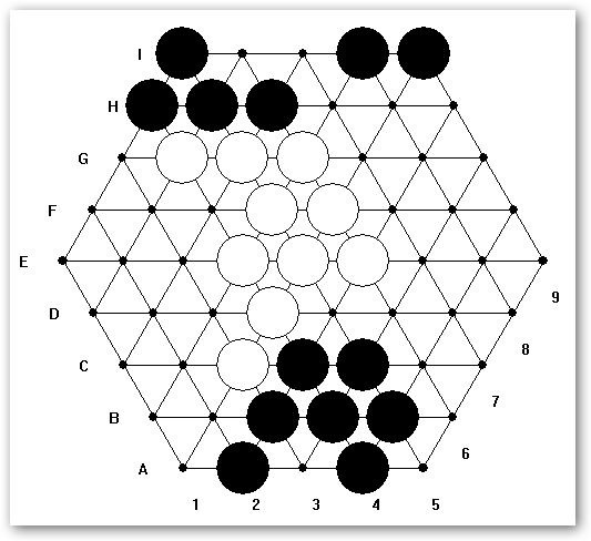Figure A.1: Position after ply 36 not before it has a strong position at the center with most of the marbles in one single group. A possible approach would be to divide the game into different phases.