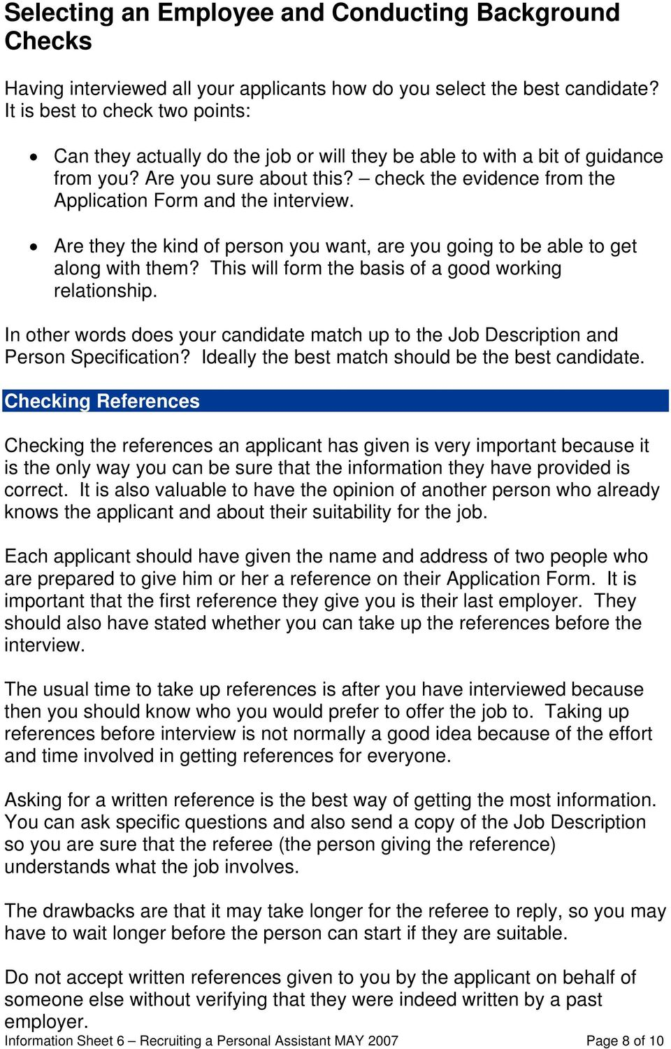 Information Sheet 6 Recruiting A Personal Assistant Pdf