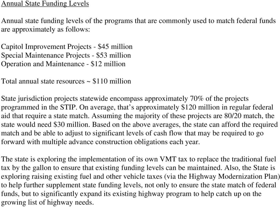projects programmed in the STIP. On average, that s approximately $120 million in regular federal aid that require a state match.