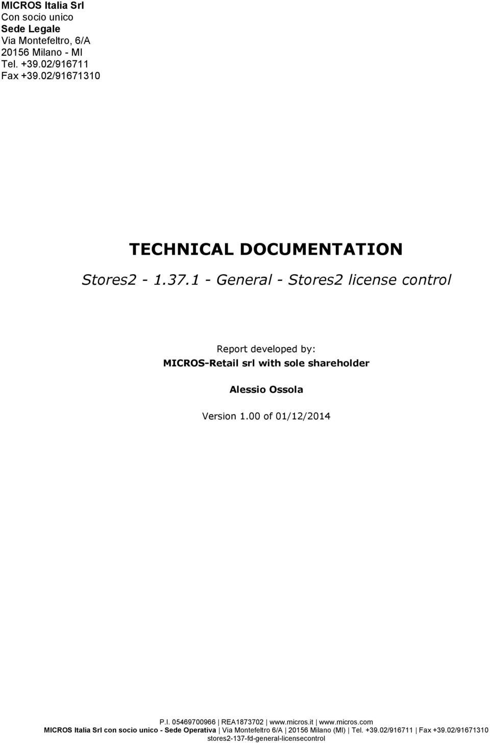 02/91671310 TECHNICAL DOCUMENTATION Stores2-1.37.