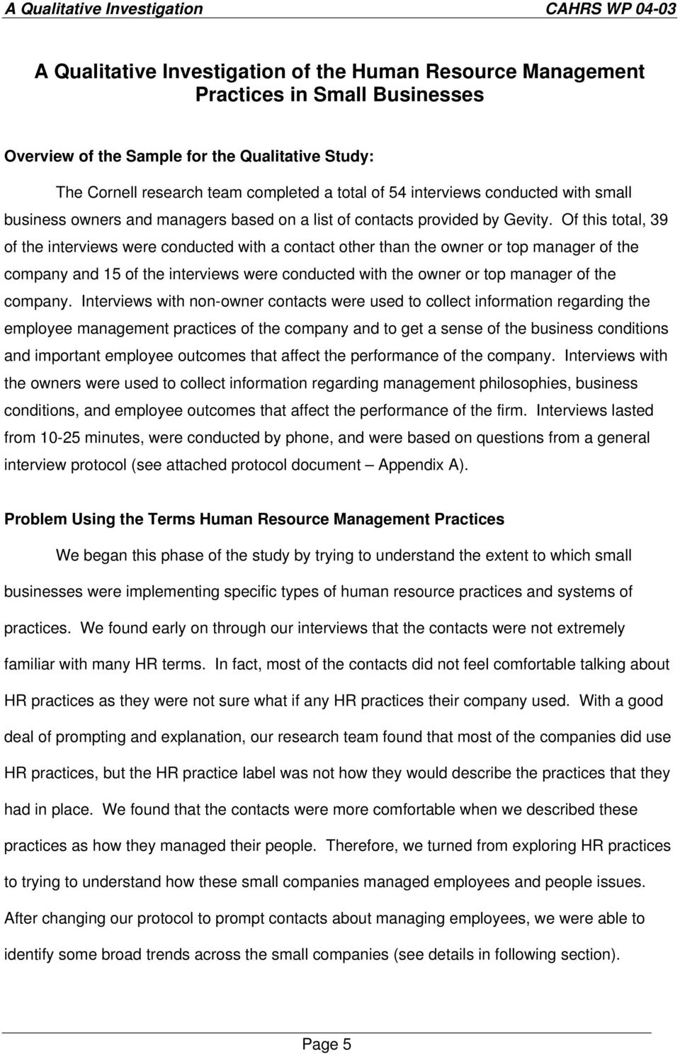 A Qualitative Investigation of the Human Resource Management