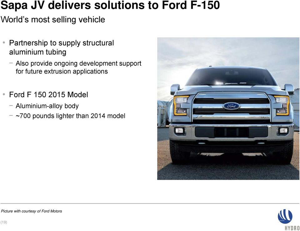development support for future extrusion applications Ford F 150 2015 Model