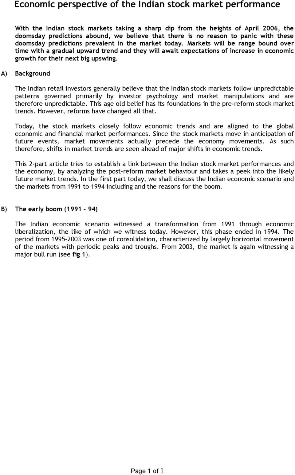 Economic perspective of the Indian stock market performance - PDF