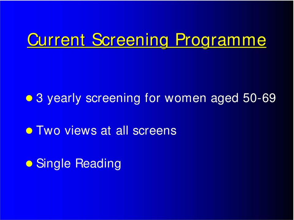 screening for women aged