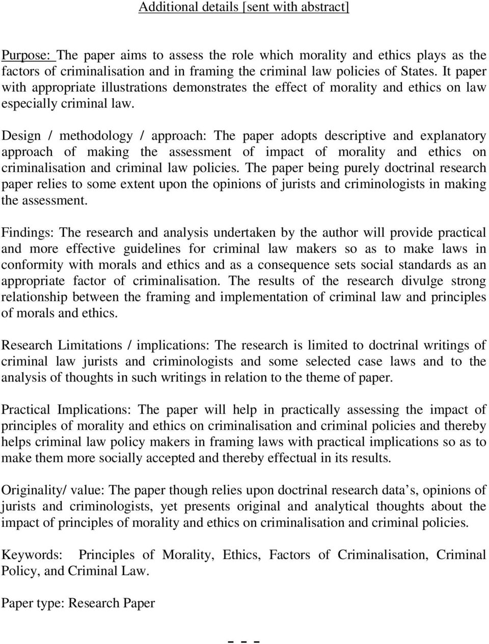 research paper law and morality