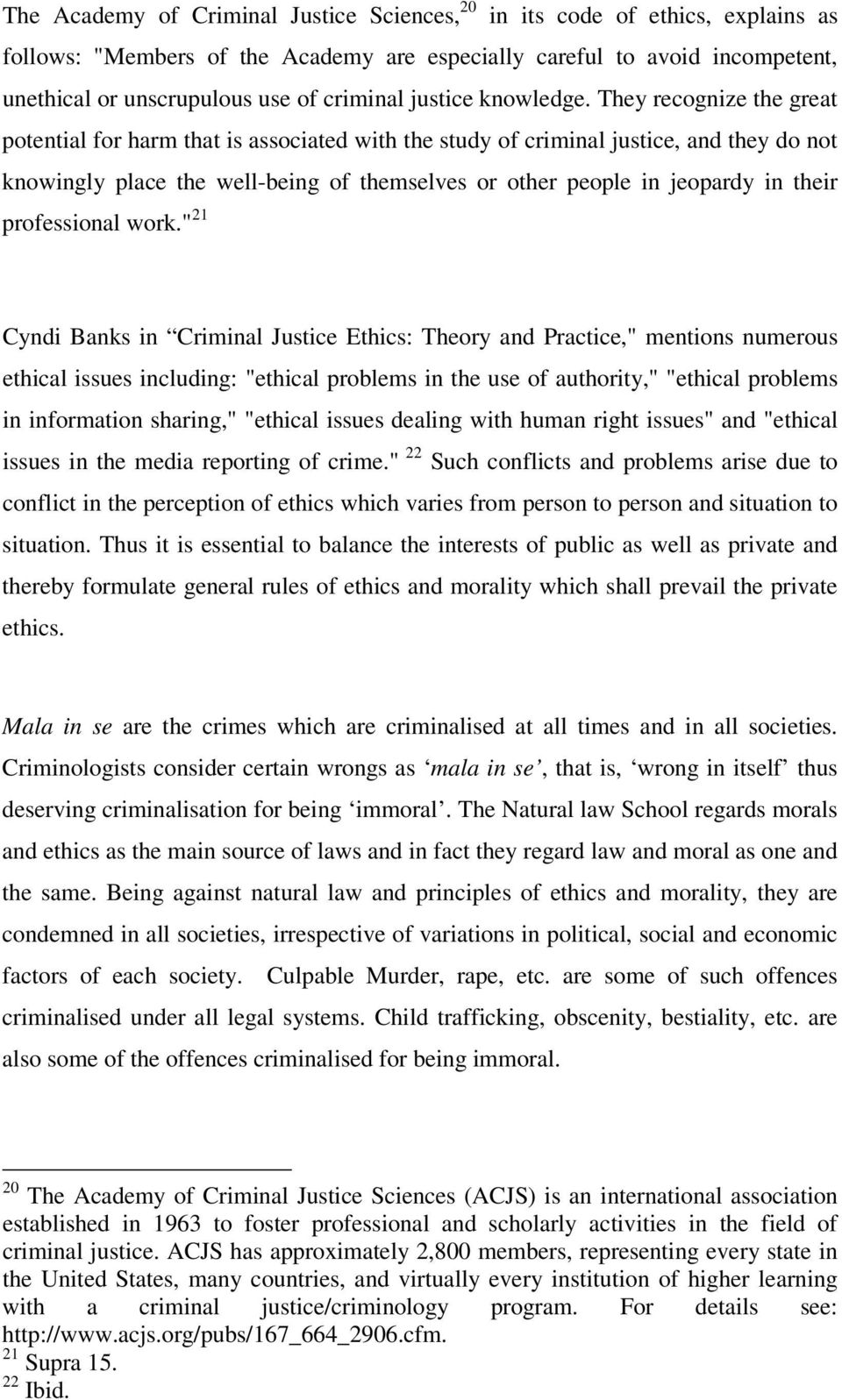 criminology code of ethics