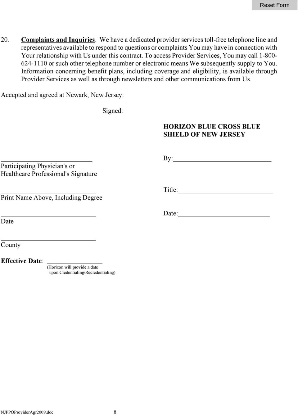 Instructions for completing the HORIZON BLUE CROSS BLUE SHIELD OF