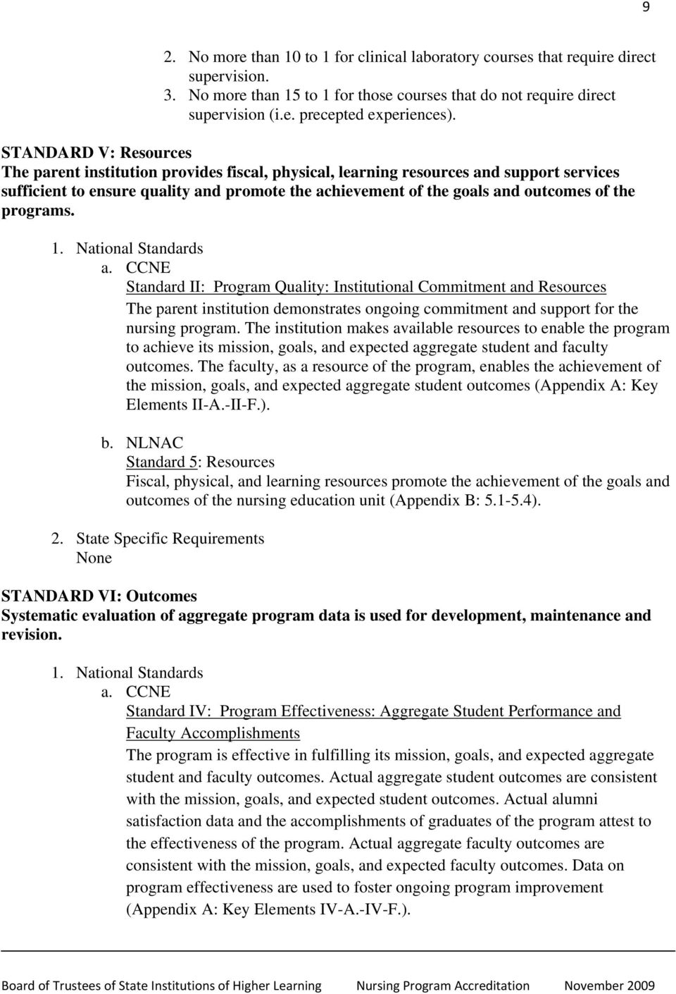 the programs. 1. National Standards a.