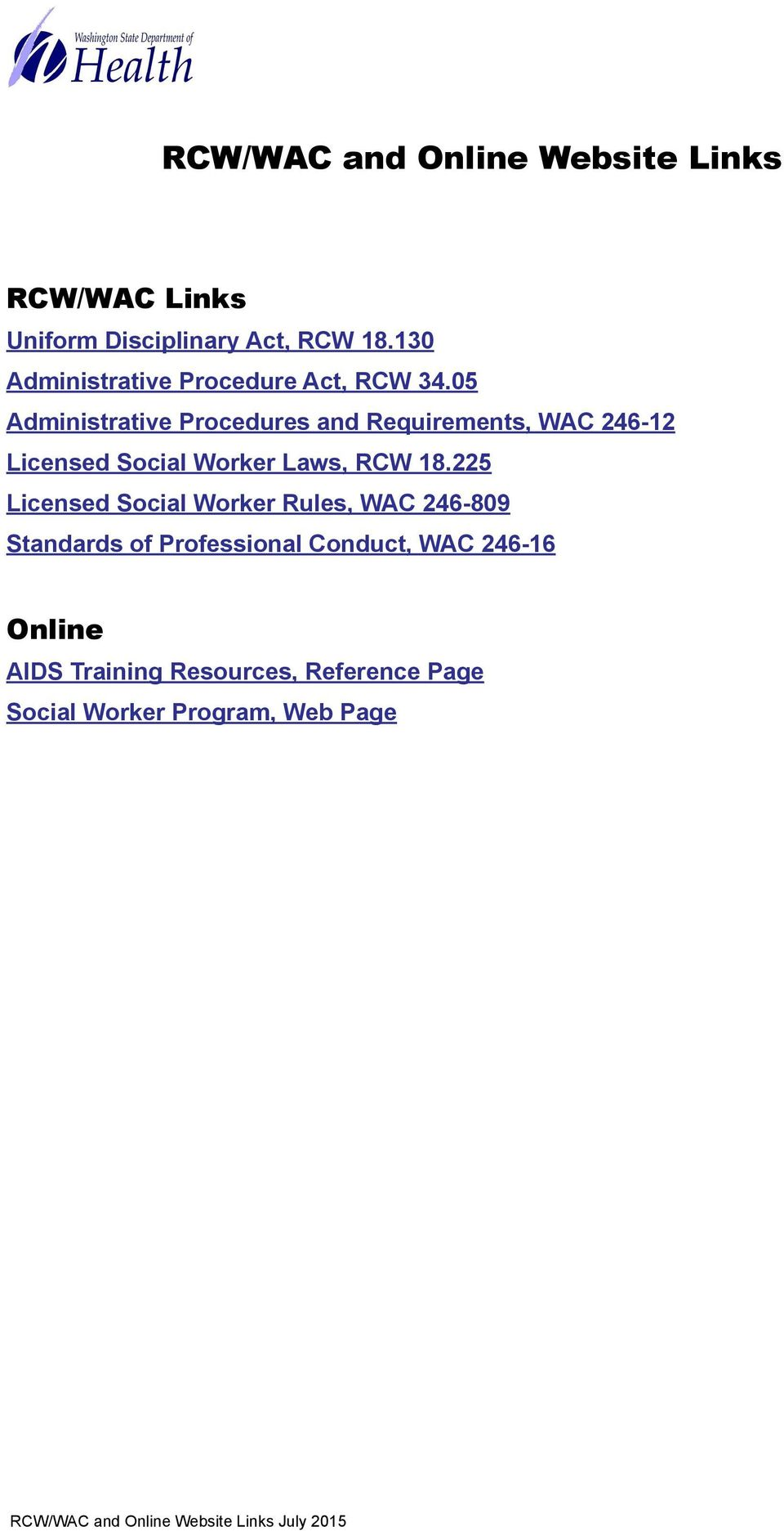 05 Administrative Procedures and Requirements, WAC 246-12 Licensed Social Worker Laws, RCW 18.