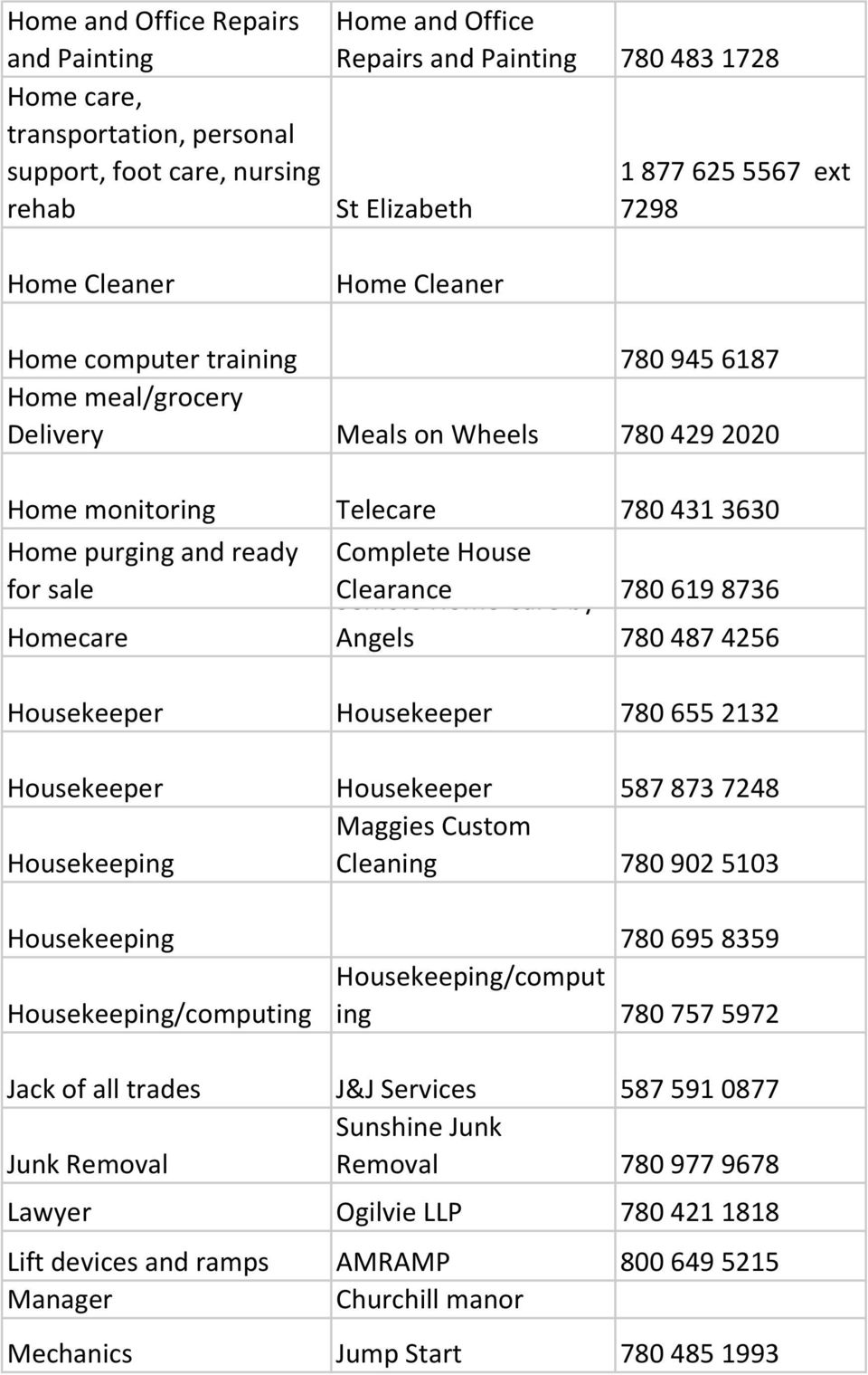 Complete House Clearance Seniors Home Care by 780 619 8736 Angels 780 487 4256 Housekeeper Housekeeper 780 655 2132 Housekeeper Housekeeper 587 873 7248 Maggies Custom Housekeeping Cleaning 780 902