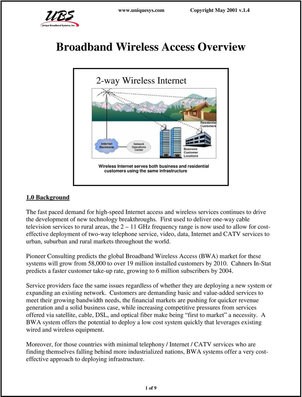 Broadband Wireless Access Overview Pdf Introduction To Catv Twoway Cable Tv System First Used Deliver One Way Television Services Rural Areas The 2