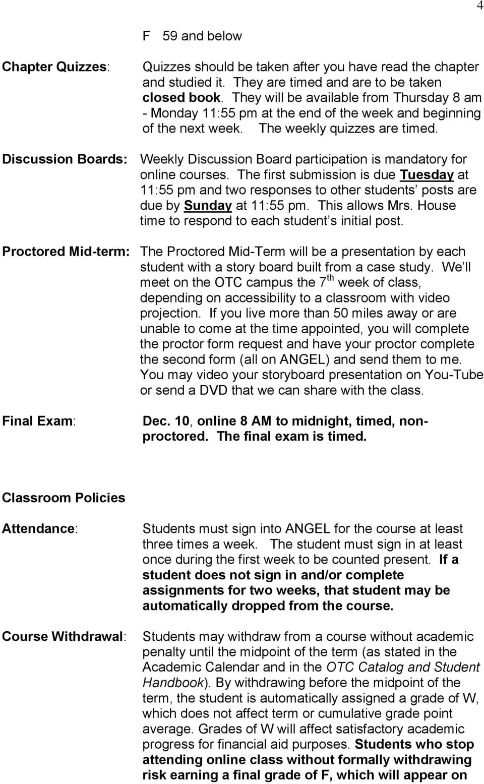 s: Weekly participation is mandatory for online courses. The first submission is due Tuesday at 11:55 pm and two responses to other students posts are due by Sunday at 11:55 pm. This allows Mrs.