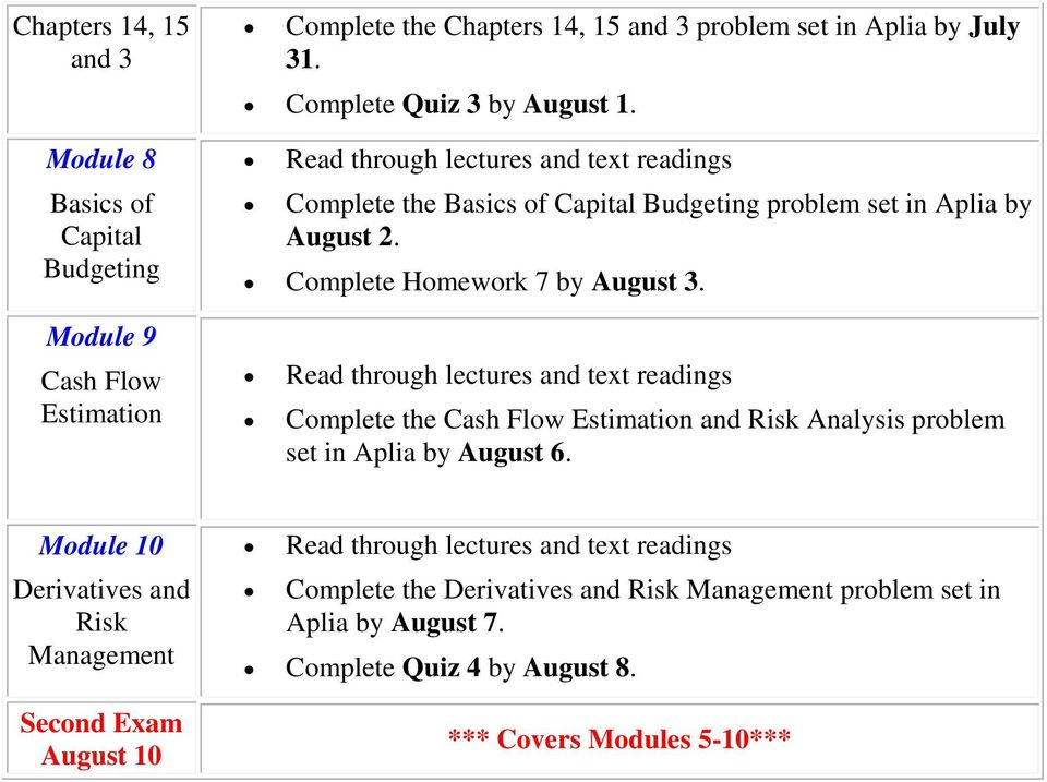 Module 9 Cash Flow Estimation Complete the Cash Flow Estimation and Risk Analysis problem set in Aplia by August 6.