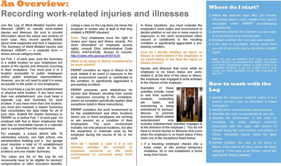 The Summary Of Work Related Injuries And Illnesses 300AP A Separate Form Shows
