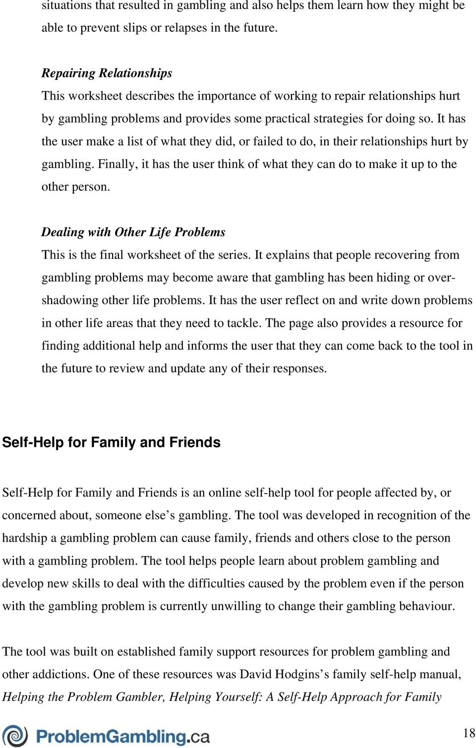 Problem gambling worksheets