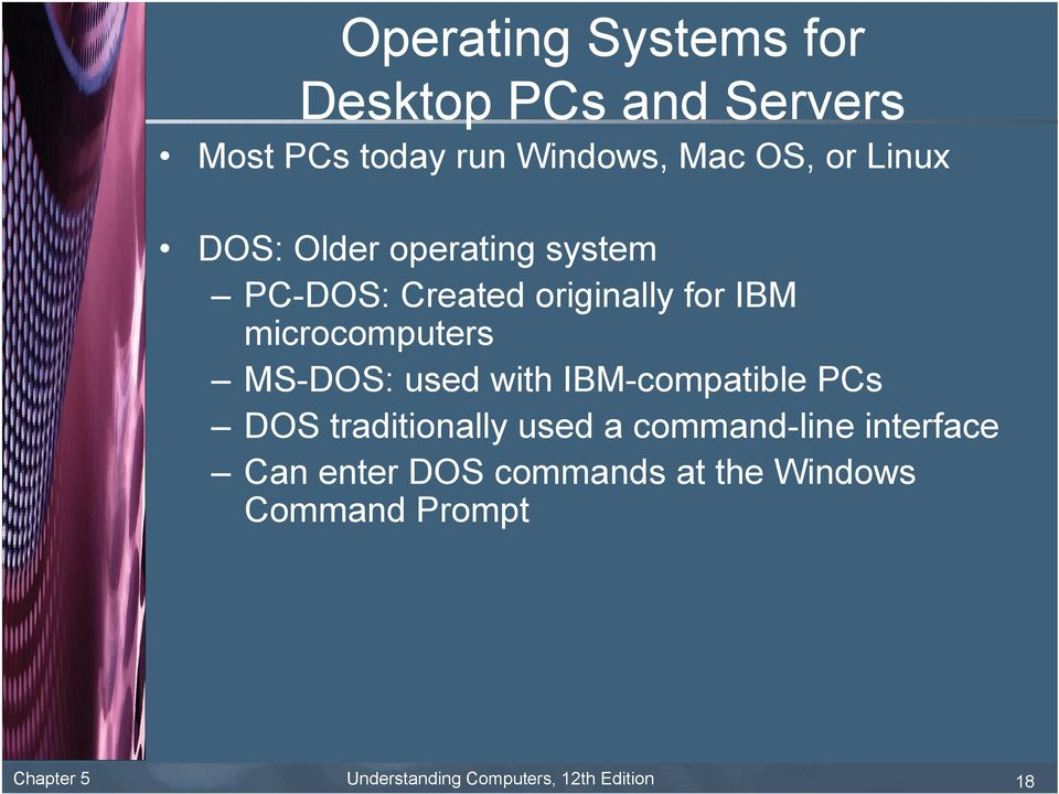 MS-DOS: used with IBM-compatible PCs DOS traditionally used a command-line interface Can