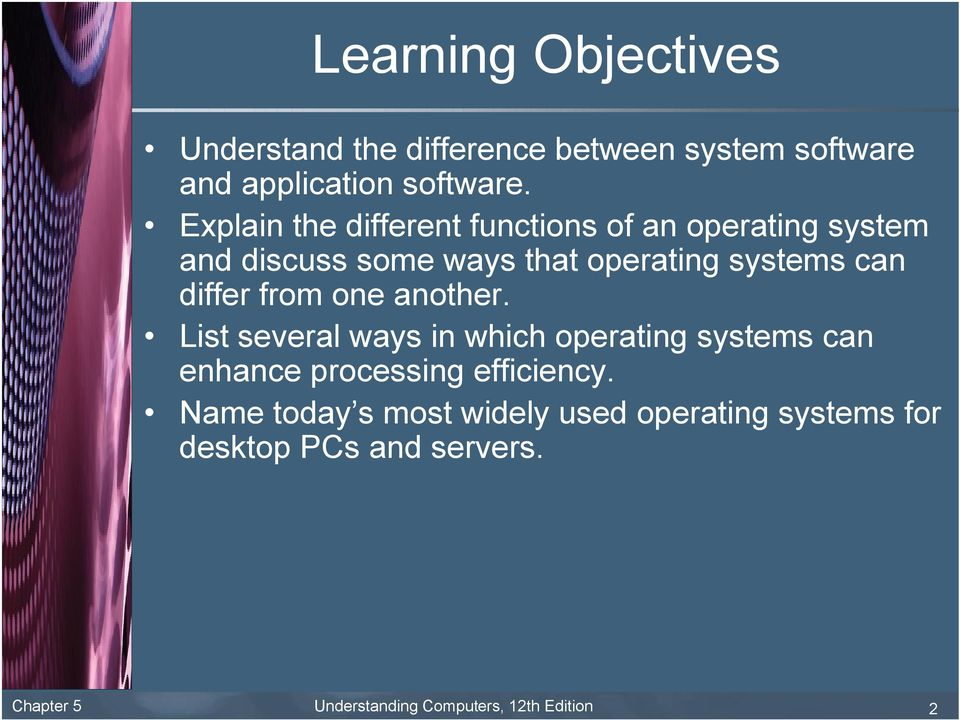 differ from one another. List several ways in which operating systems can enhance processing efficiency.