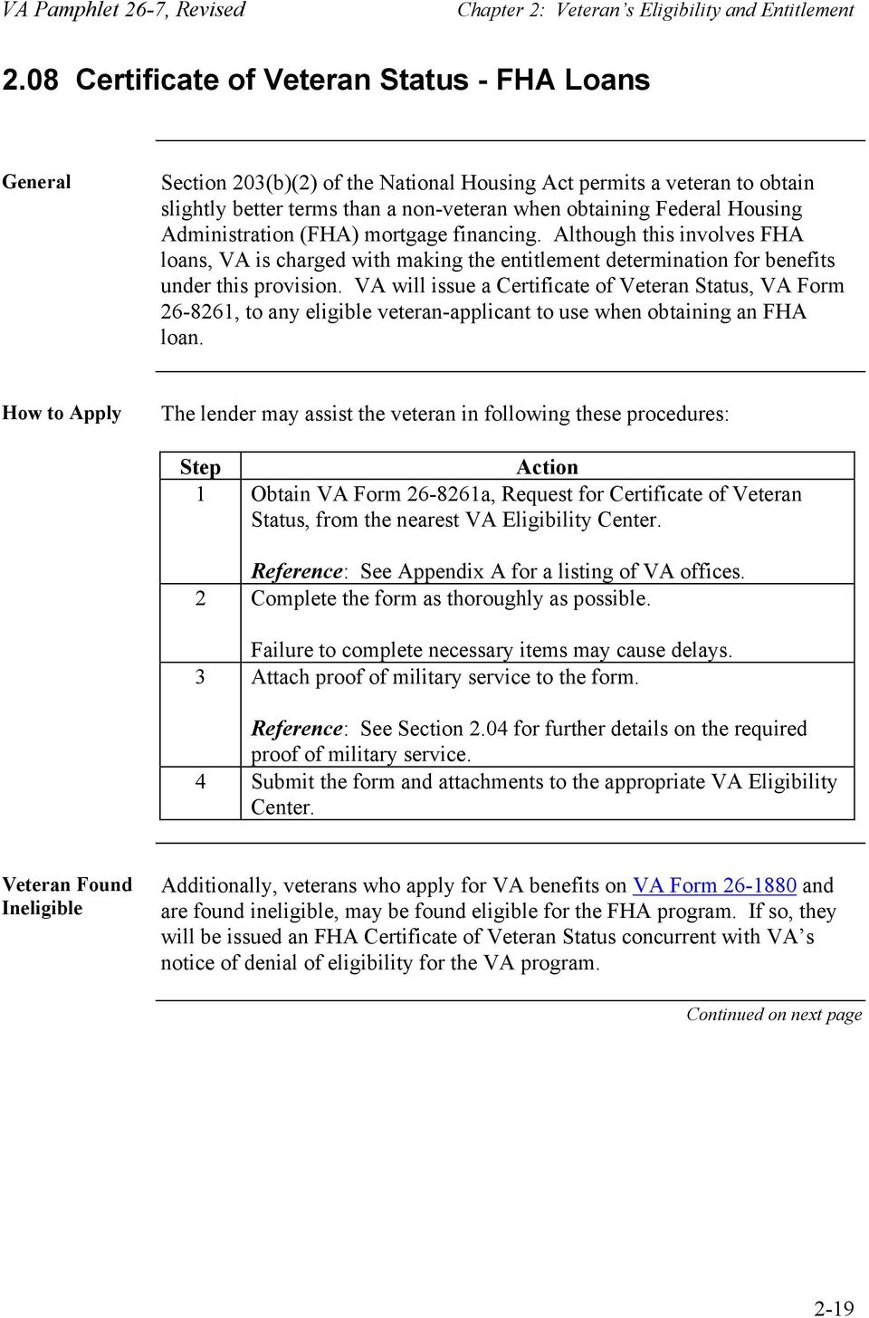 Chapter 2 Veterans Eligibility And Entitlement Overview Pdf