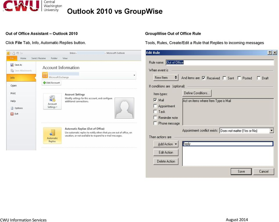 GroupWise Out of Office Rule Tools, Rules,