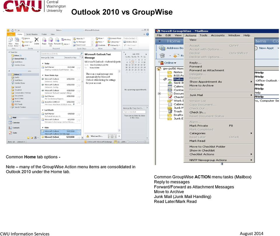 Common GroupWise ACTION menu tasks (Mailbox) Reply to messages