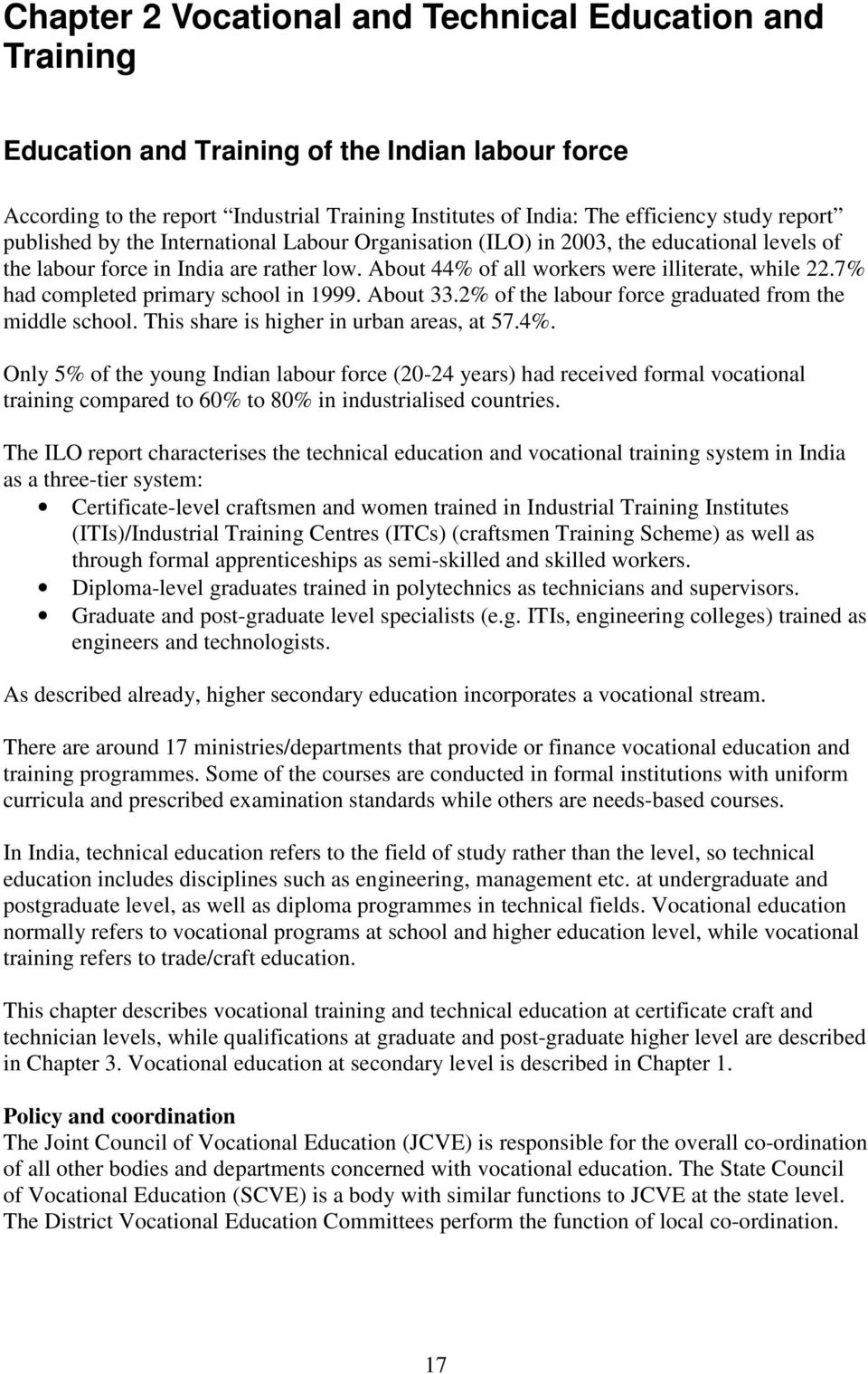 Report on  The System of Education in India - PDF