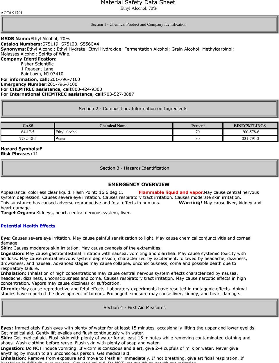 Material Safety Data Sheet Ethyl Alcohol 70 Pdf Free Download