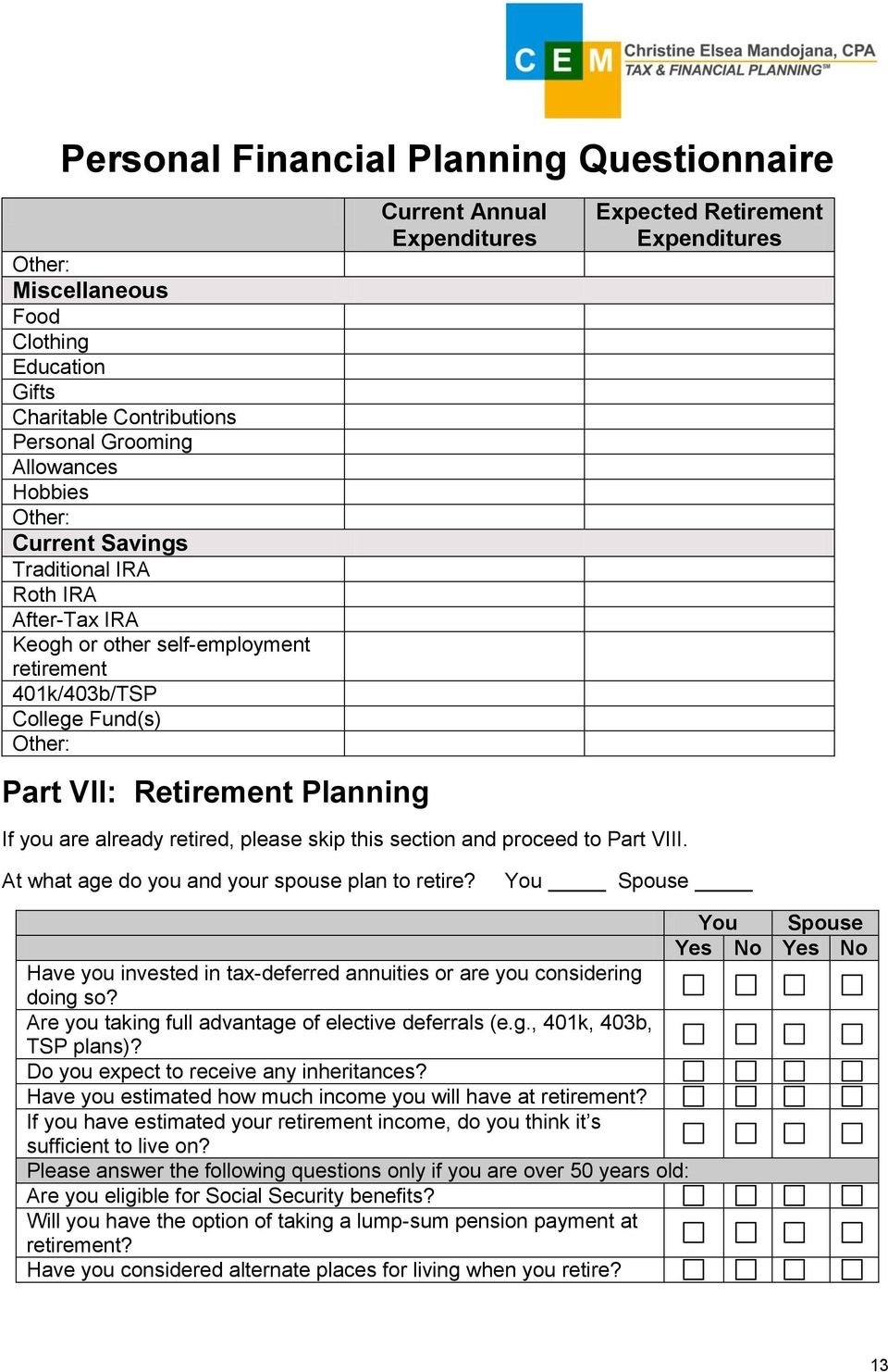 Personal Financial Planning Questionnaire - PDF