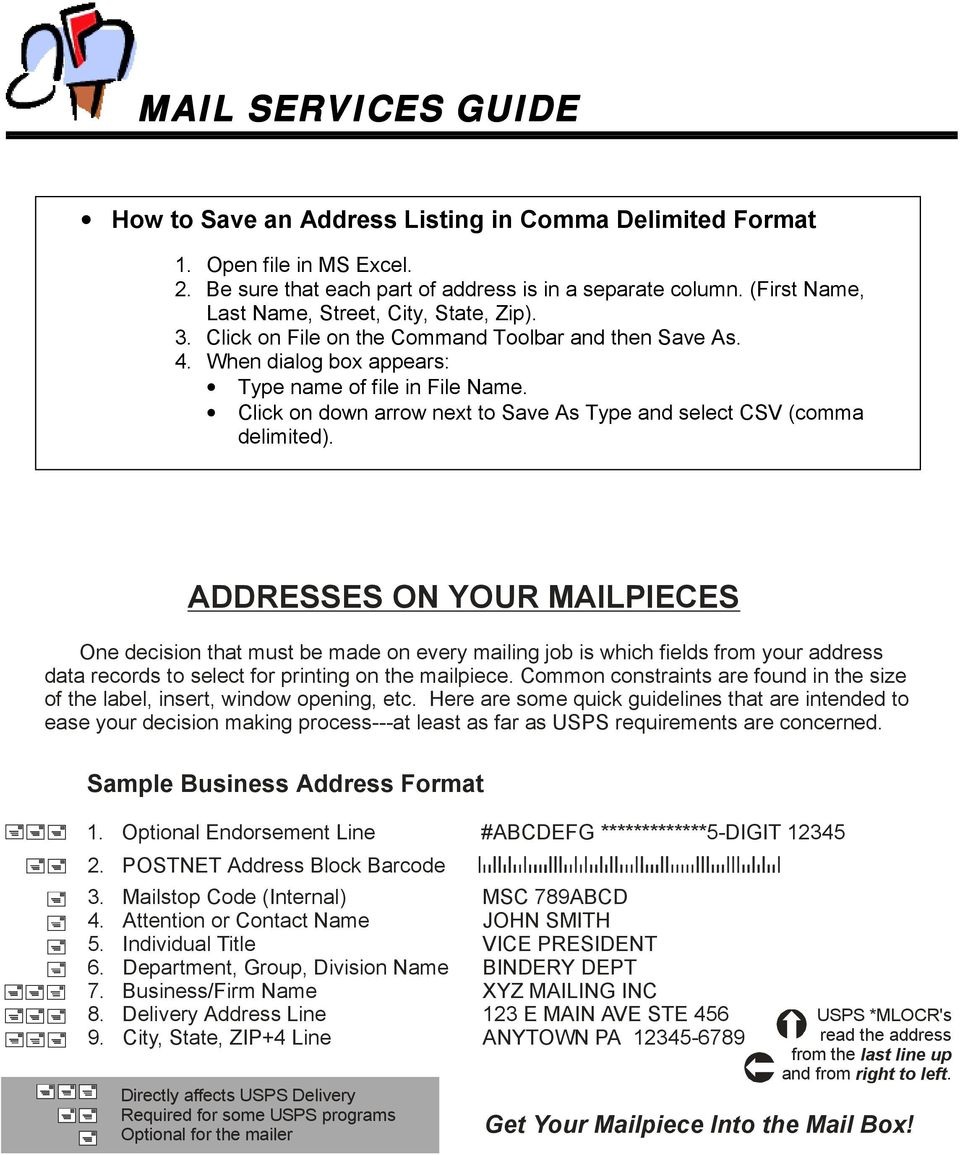 Mail Services Guide Guide Index General Information Mail